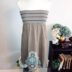 Charlotte Russe gray strapless cotton dress sz S